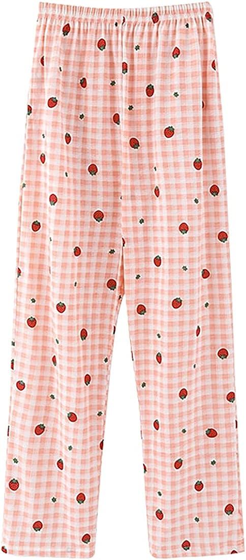 Wofupowga Womens Plaid Pajama Pants Sleepwear Lounge Bottom