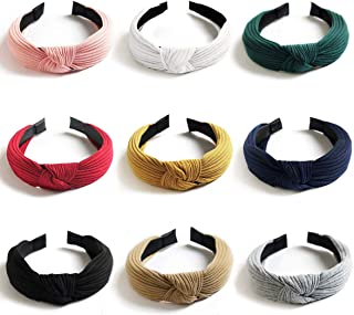Knotted Headbands for Women Girls, Funtopia 9 Pcs Wide Plain Turban Headband Fashion Cross Knot Hair Bands with Solid Colors