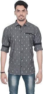 Pochampally Ikat Handloom Ethnic Casual Shirts for Men (Grey)