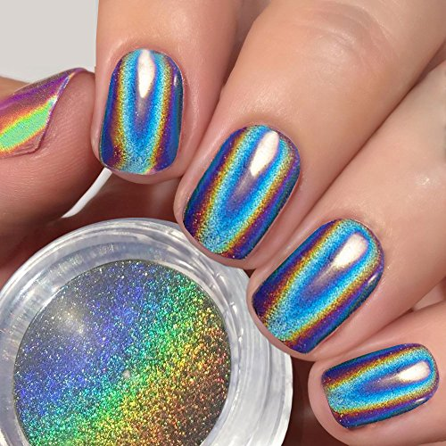 PrettyDiva Holographic Nail Powder - Unicorn Chrome Nail Powders Hologram Iridescent Nails Pigment,Top Grade Rainbow Glitter HOLO Laser Powder Manicure Pigment