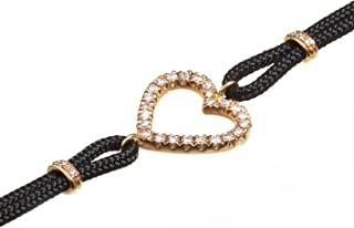 Virano Gioielli, Bracciale cuore oro rosso e diamanti con cordoncino tecnico