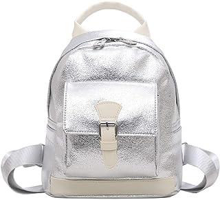PU Leather Shiny Retro Backpack Travel School Shoulder Bag Daypack (Color : Silver)