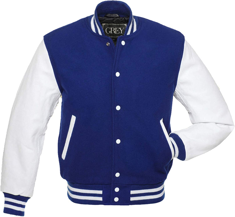 Varsity Jacket, Wool Body with Leather Arms Letterman Baseball Unique & Stylish ( Royal Blue-White-M)