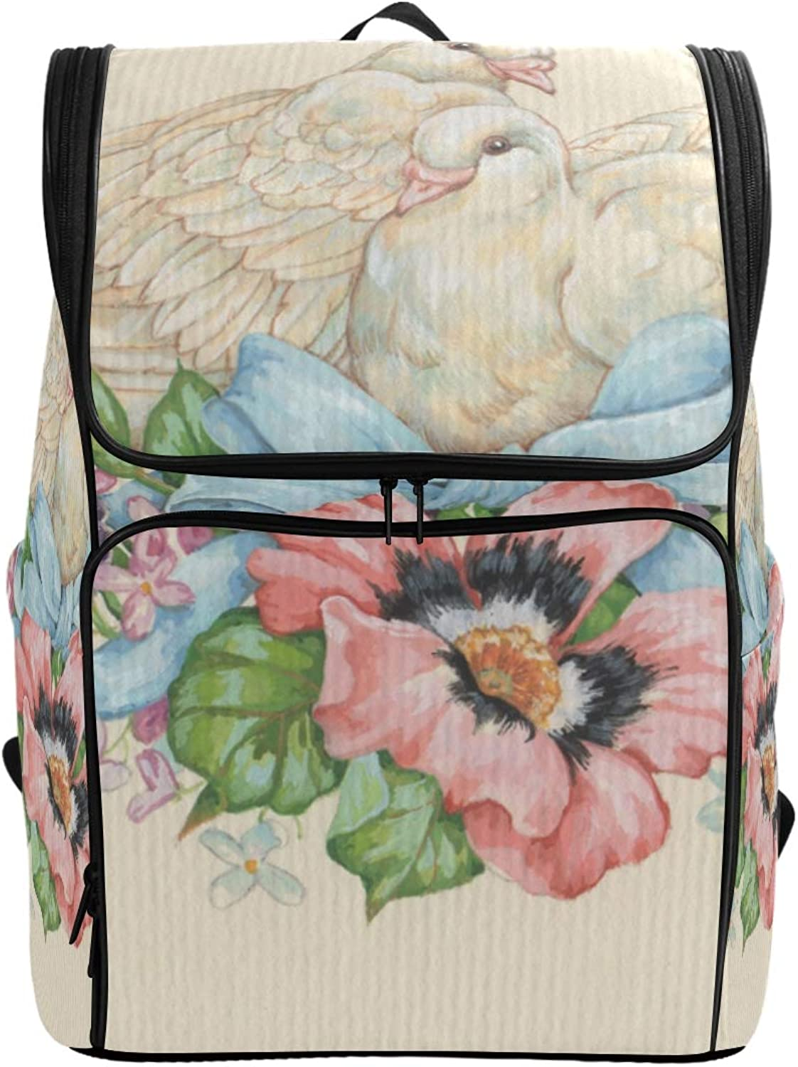 FAJRO Pigeon Dove Flower Nest Painting Travel Hiking Backpack Daypack Camping Backpack Outdoor Sport Backpack