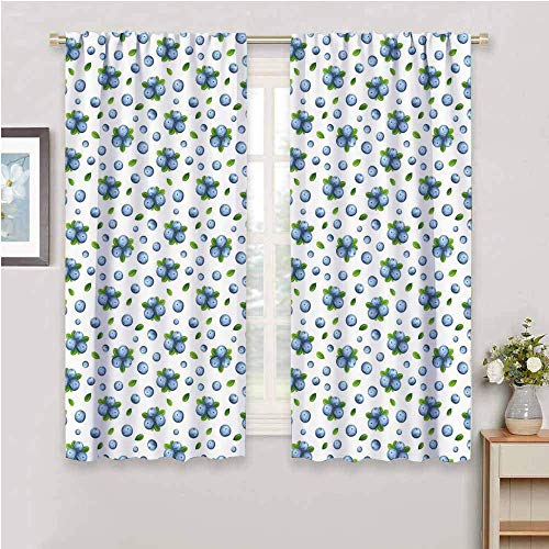 DIMICA Cloth curtain kitchen wall fresh blueberries ripe juicy fruits summer organics food painting style Print Bedroom Decor Blackout Shades blue green white W108 x L84 Inch