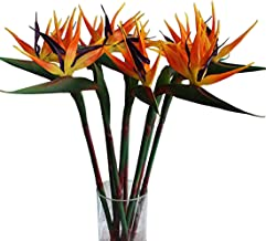 Calcifer 32.28'' Real Touch Bird of Paradise Artificial Flowers Bouquet for Home Garden Decoration/Wedding Party Decor (Orange, 5 Pcs)