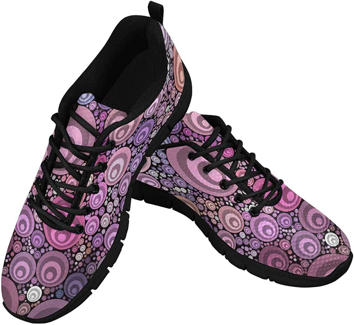 InterestPrint Color Dots Pattern Women's Lace Up Running Comfort Sports Sneakers