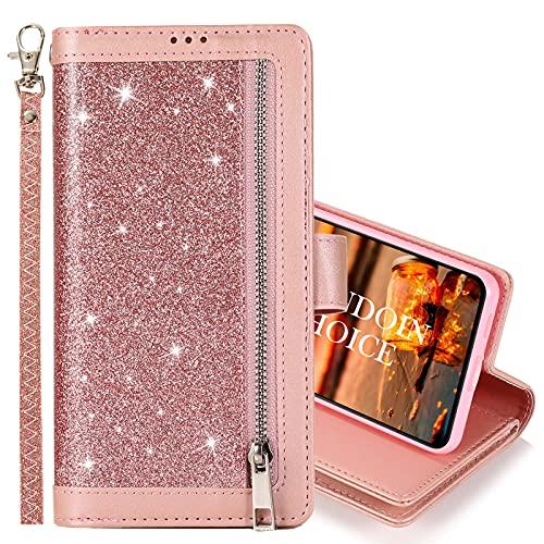 GrandoinChoice Funda para Samsung Galaxy A90 5G, Sparkly Glitter Bling PU Cuero Flip Folio Wallet Carcasa Magnético Protectora Carcasa con [Soporte Plegable] [9 Ranuras para Tarjetas] (Rosa)