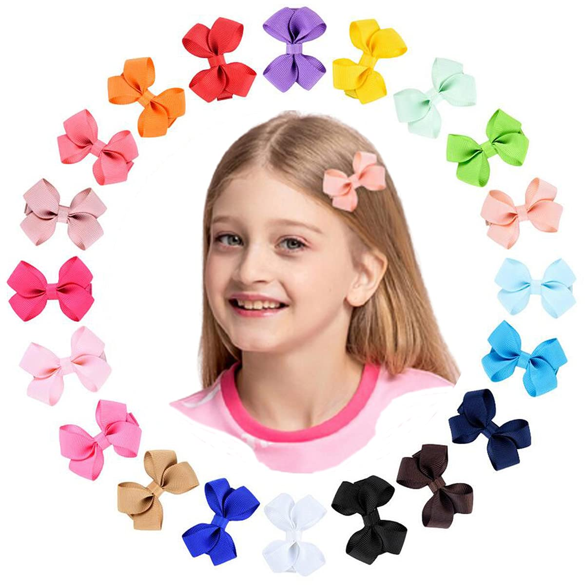 Petunny Baby Girls Hair Bow Clips,40Pcs Grosgrain Ribbon Hair Bows Clips Solid Color Alligator Clips Hair Accessories For Baby Girls Infants Toddlers Teens Kids Children (Random Color,20 Pairs)
