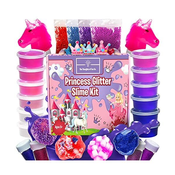Princess Slime Kit for Girls - Bonus Unicorn Slime and Glow-in-The-Dark Slime Mixing Fun, 12 Colors - Stretchiest Slime Kit, Slime Charms, Crowns, Foam, Glitter, DIY Pink, Clear Slime, Toys for Girls 3