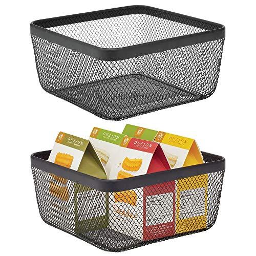 mDesign Farmhouse Decor Metal Wire Food Organizer Storage Bin Basket for Kitchen Cabinets Pantry Bathroom Laundry Room Closets Garage 2 Pack - Black