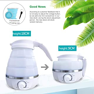 Portable Foldable Electric Kettle – Fast Water Boiling Food Grade Silicone Collapsible Kettle for Traveling– 600ML Capacity -Dual Voltage &Boil Dry Protection