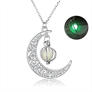 KingMade Magical Fairy Glow in The Dark Moon Crescent Necklace | Great Gifts for Teen Girls and Woman Jewelry