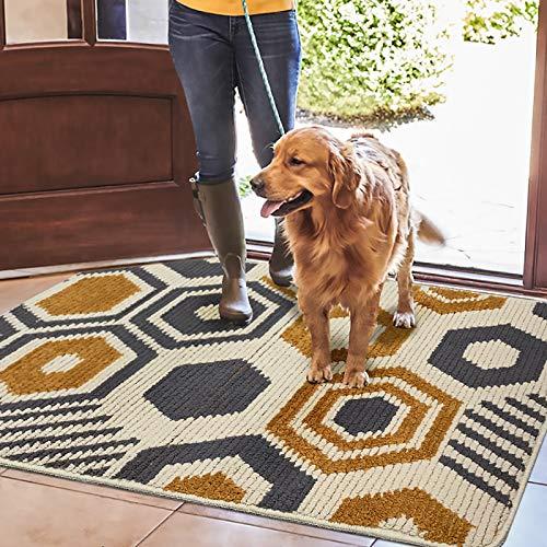 Color&Geometry Felpudo de Entrada, Interior Alfombra Antideslizante, Tapete para Puerta Lavable a Máquina, Absorbente para Pasillo, Cocina, Jardín, 80 x 100 cm, Beige