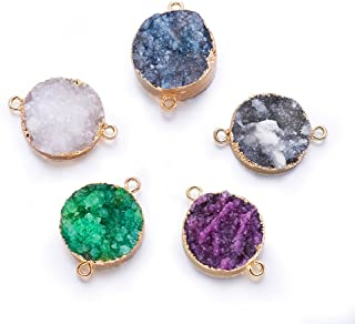Fashewelry 5 pcs Mixed Gold Plated Natural Flat Round Druzy Agate Links Jewelry Connector for Jewelry Making Beads (Light Gold Plated)