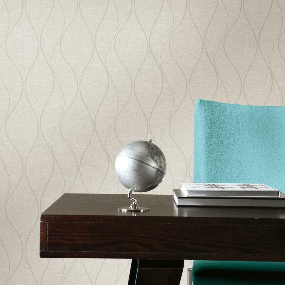 RoomMates RMK11292WP Max 68% OFF Beige Ranking TOP19 Wave Ogee Stick Wallpaper and Peel