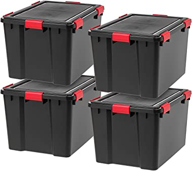 IRIS USA UCB-LDD WEATHERTIGHT Storage Box, 74 Quart, Black, 4 Pack