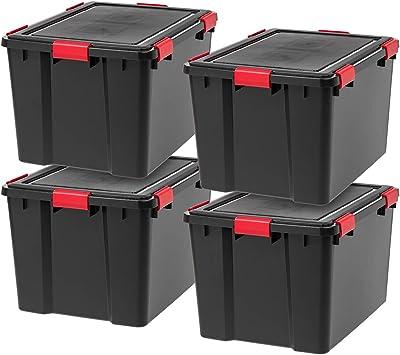 IRIS USA UCB - Color WEATHERTIGHT Storage Box, 74 Qt, Black/Red, 4 Count