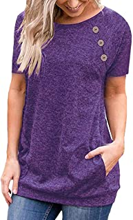 Foowni Women Casual Solid O-neck Short Sleeve With Buttons Tops Blouse