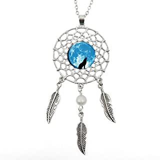 Silver Dream Catcher Necklace Older Wolf Glass Pendant Long Chain Dangling Feather Charms Jewelry for Women
