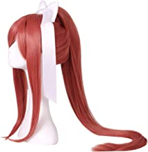 ColorGround Long Coral Cosplay Wig with Long Ponytail and Bowknot for Women
