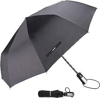 "TradMall Travel Umbrella Windproof with 10 Reinforced Fiberglass Ribs 42"" Large Canopy Auto Open & Close, Black"