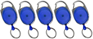 Lucky Line Retractable Oval Key Chain, Blue, 5 Pack (6403505)