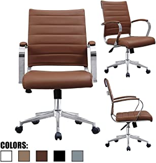 2xhome Brown Modern Mid Century Modern Contemporary Mid Back Ribbed PU Leather Swivel Tilt Adjustable Chair Executive Manager Office Conference Room Work Task Computer Ribbed Desk Chrome Wheels Arms