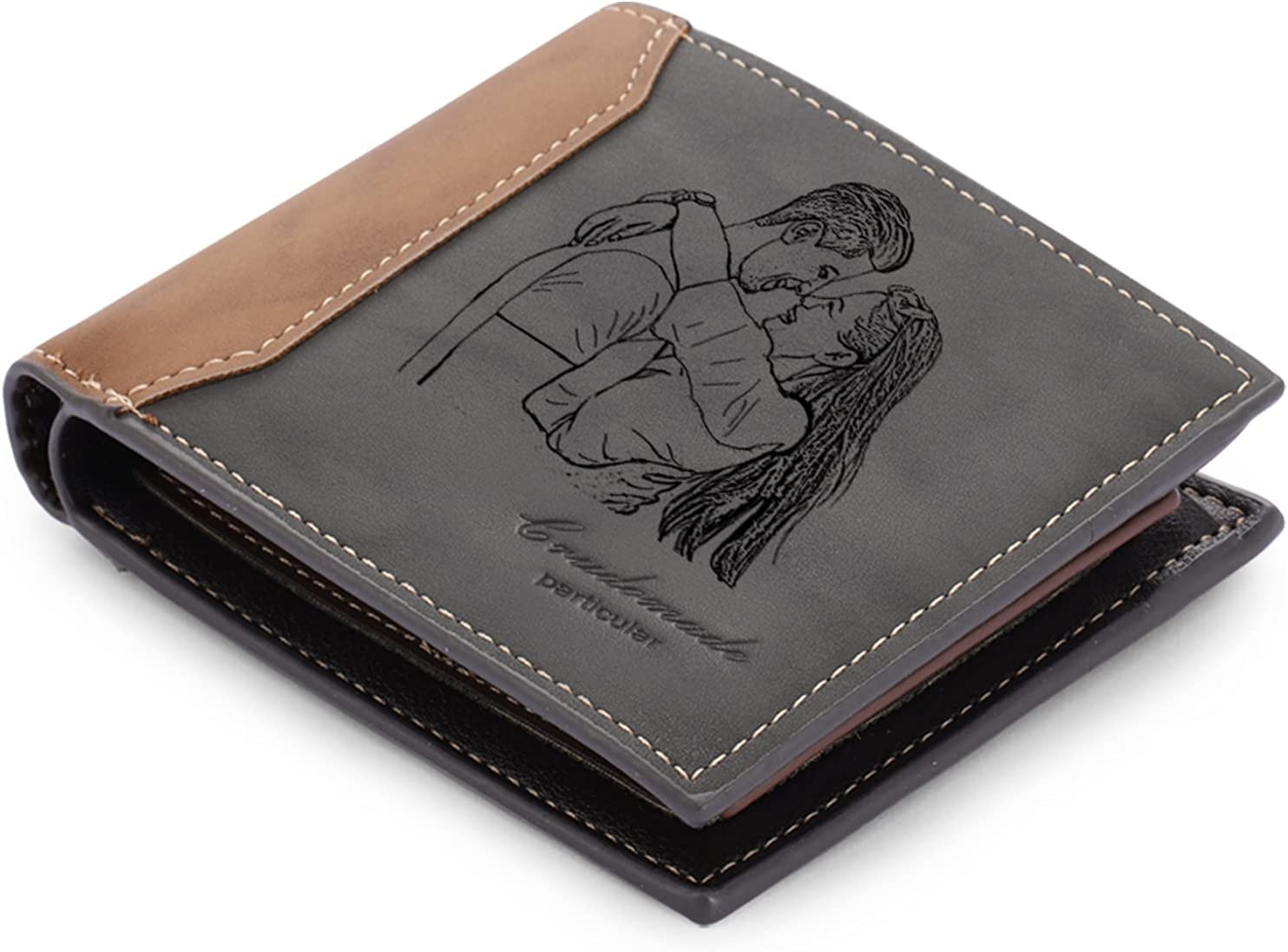 Personalized Wallet for Men - Custom Wallets for Men, LAGOFIT Men's Wallet Custom Engraved Photo Wallet Casual Bifold Wallet Personalized Gifts for Dad, Husband, Boyfriend