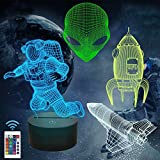 Outer Space Gifts, 3D Spaceman Astronaut Rocket Alien Night Light for Kids (4 Patterns) with Remote 16 Colors Changing Dimmable Function, Christmas for Science Space Fan Boy Child