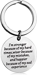 BEKECH Divorce Gift Break Up Gift Cancer Awareness Gift I'm Stronger Because of My Hard Time Strength Jewelry Keychain Gift for Best Friend New Adventure