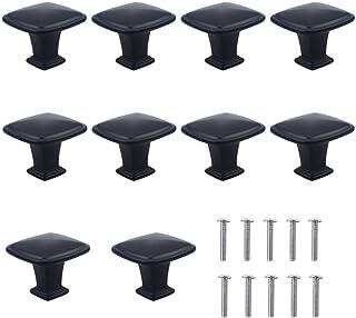 Dokpav Set van 10 stuks mat-zwarte ladenknoppen, meubelknoppen, ladegrepen, ladeknoppen set, meubelgreep, modern, met rond...
