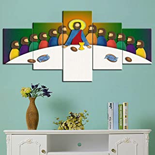 Jesus Last Supper Picture Wall Art for Living Room Jesus Christ with Apostles Paintings Canvas 5 Piece Artwork Home Decor Giclee Wooden Framed Gallery-Wrapped Stretched Ready to Hang(50''Wx24''H)