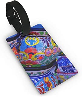 CoolToiletLidCoverCC Novel Beautiful Bowl Colorful Pottery Prints Luggage Tag Cruise Tags Etag Adjustable Wrist Strap Bag Tags Privacy Resealable Name Id Labels PVC Size 2.2'' X 3.7''