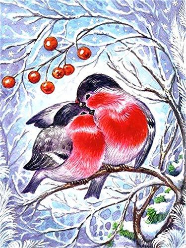 5D diamante pintura pájaro Kit diamante bordado invierno mosaico decoración para el hogar hecho a mano punto de cruz diamante pintura A4 40x50cm