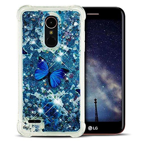 Yomiro Funda LG K10 2018, TPU Carcasa para LG K10 2018 / LG K11 Suave Flexible Silicona Fluido Líquido Quicksand Carcasas Bumper Cover Case Mariposa