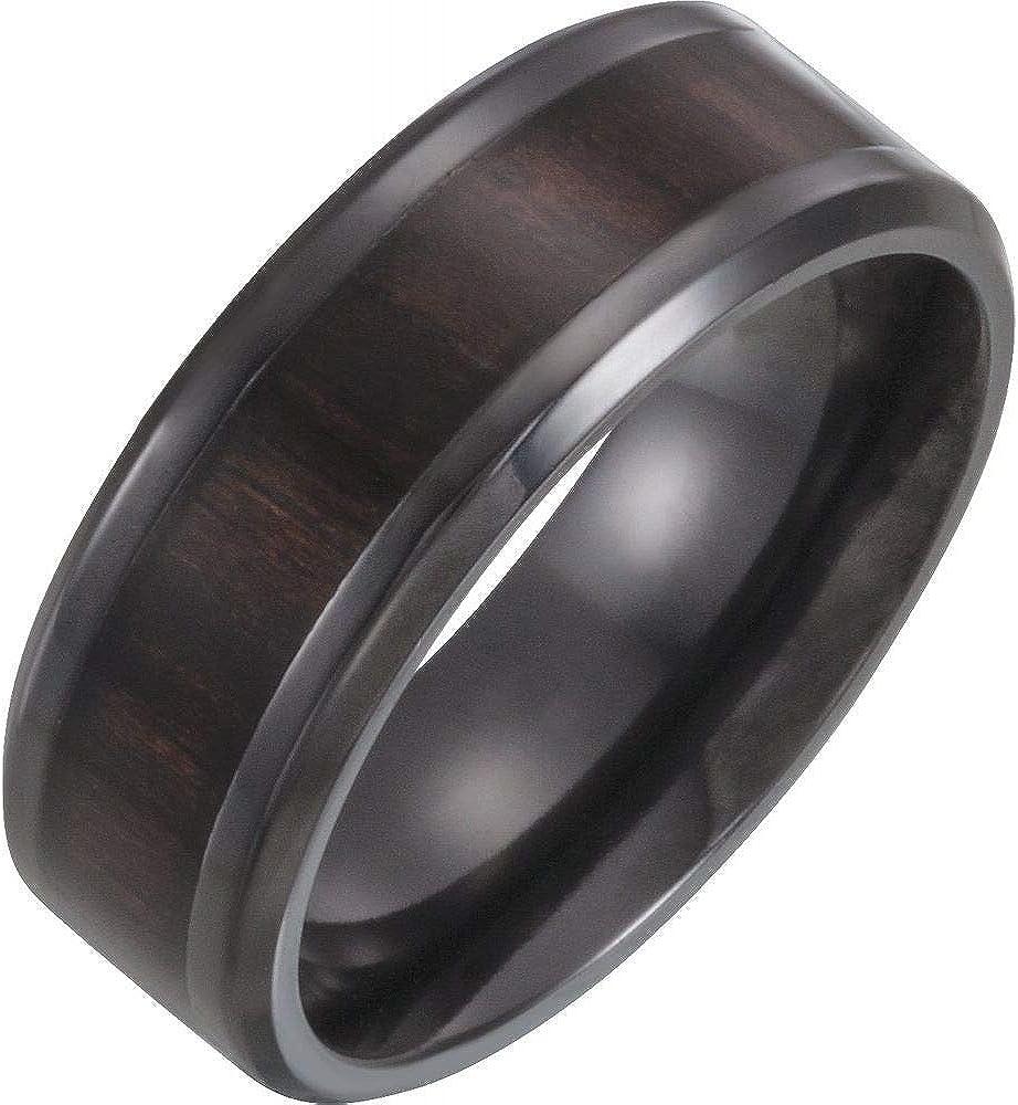 Sonia Jewels Black 8mm Beveled Edge Wedding Band Ring Comfort Fit Wood Inlay