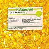 Cod Liver Oil Capsules 1000mg 365 High Strength Omega 3 Softgels, EPA DHA Vitamins A & D3, Full Year Supply, Gluten Free, by NaturPlus