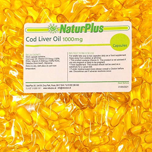 Cod Liver Oil Capsules 1000mg 365 High Strength Omega 3 Softgels, EPA DHA Vitamins A & D3, Full Year Supply, Gluten Free, by NaturPlus