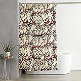 ZDPLL Wasserdicht Duschvorhang Rote Pflaume Stoff Polyester Duschvorhänge, Shower Curtains mit Duschvorhangringe für Badewanne & Bathroom 150x200cm