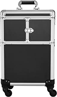 Makeup Case - Professional Rolling Cosmetic Beauty Storage With Mirror and Folding Trays Black