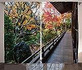 ABAKUHAUS japanisch Rustikaler Vorhang, Holz Balkon Aussicht, Wohnzimmer Universalband Gardinen mit Schlaufen und Haken, 280 x 175 cm, Grün Braun