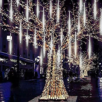 MUEQU Solar Light Outdoor Waterproof Christmas String Lights Solar LED Meteor Shower Rain Lights Falling Raindrop Light 8Tubes 288LED Fairy Lights for Xmas Tree Garden Party Decor  White