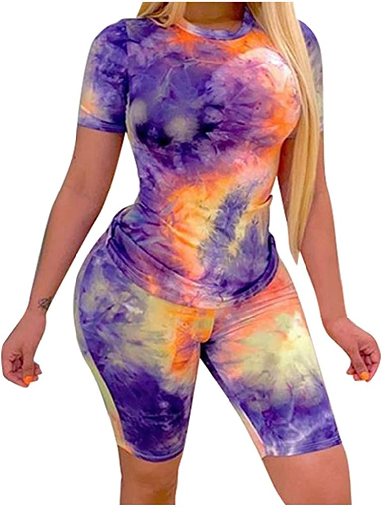 Summer Outfits for Women,Two Piece Outfits for Women Summer Casual Tie Dye Tracksuit Sets O-Neck Tops Beach Shorts