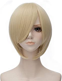 Hairpieces Men Short Straight Cosplay Wigs With Side Bangs Synthetic Wig Pink Red Black Available for Women Daily Party Co...