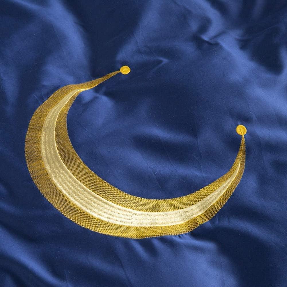 CHHD Textile à la Maison étoiles et Lune Ensemble de literie garçon Enfant Filles Linge Adulte Housse de Couette en Coton égyptien Doux (Bleu, Taille King 4 pièces) Blue