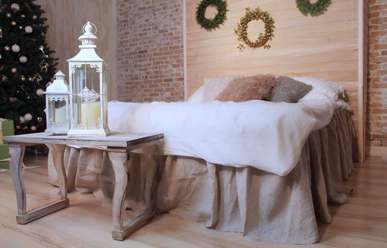 On Sale Stone Grey Linen Bed Skirt – Bed Ruffles for Queen Mattress 60