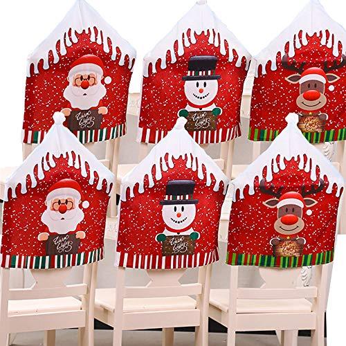 6 fundas para silla de comedor de Navidad, fundas para respaldo de silla, decoración de Navidad, diseño de sombrero de Papá Noel para banquete de Navidad, decoración de festivales