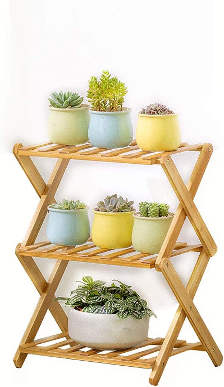 DLoob Plant Stand Modern Bamboo Flower Stand Rack Organizer Storage Rack Folding Display Indoor Outdoor (Size   H 50CM38CM)