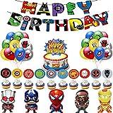 Birthday Party Supplies - Superhero Avengers Party Decorations - Superhero Birthday Party Decoration Happy Birthday Banner Avengers Aluminum Balloon Superhero Balloon Cake Toppers for Superhero Themem Party Supplies